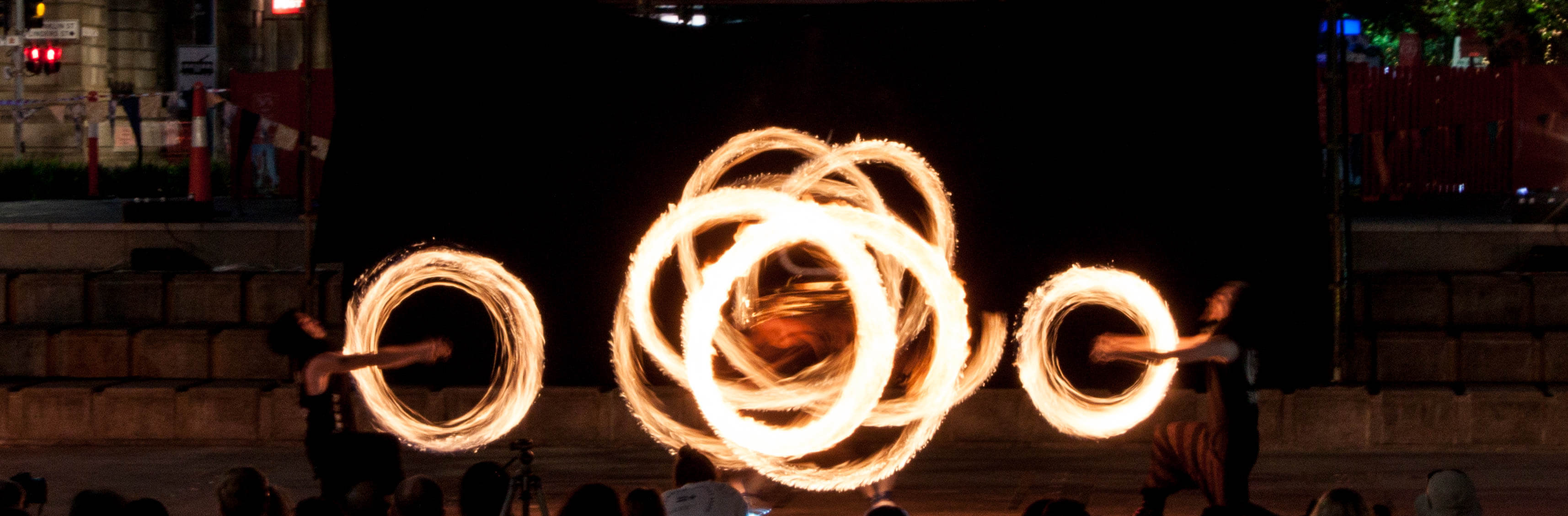 fire shows with multiple fire dancers