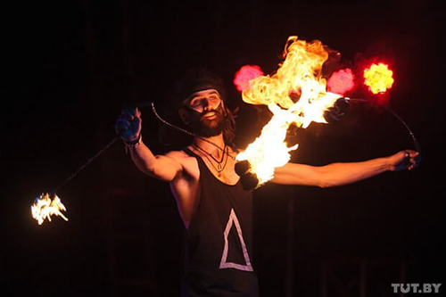 fire dancing performance