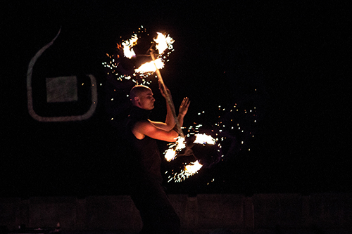 dragon staff fire spinning performance Mickey Khoury Finn Mellor