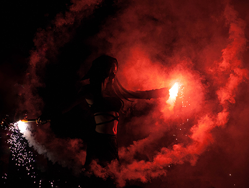 female performer, fire performance