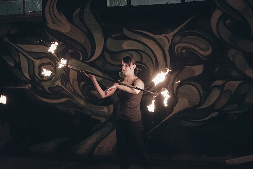Adelaide Fire Spinning Jam event - Dragon Staff