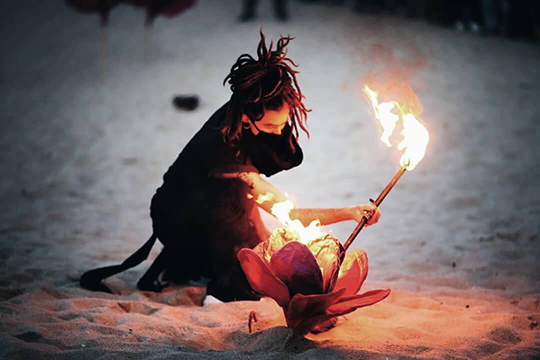 Flower Pyeongchang Winter Olympics Cultural Event - Fire Art Festa - Gyeongpo beach, South Korea, Gangneung