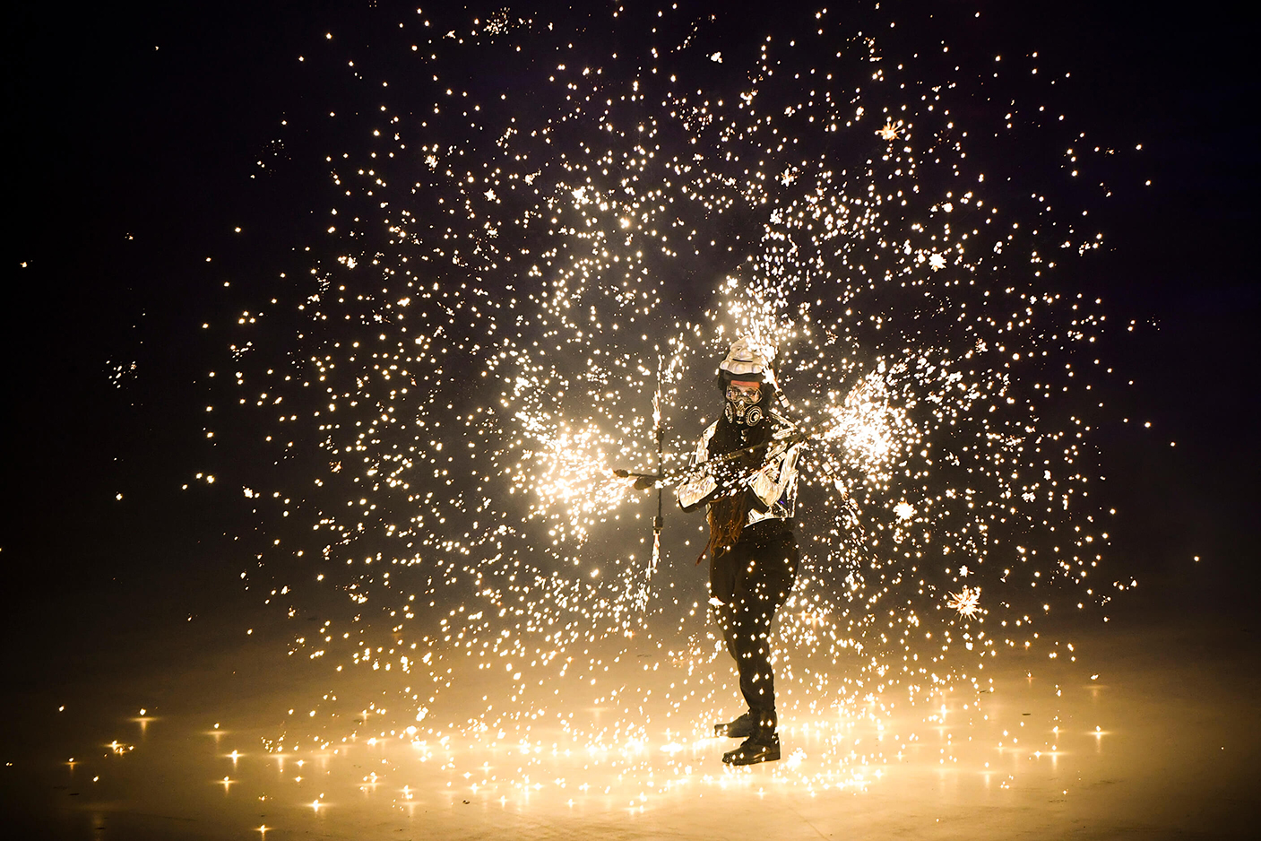Pyeongchang Winter Olympics Opening Ceremony Performer - Tim Timmehtek Goddard - Pyrotechnic Dragon Staff Pyro costume