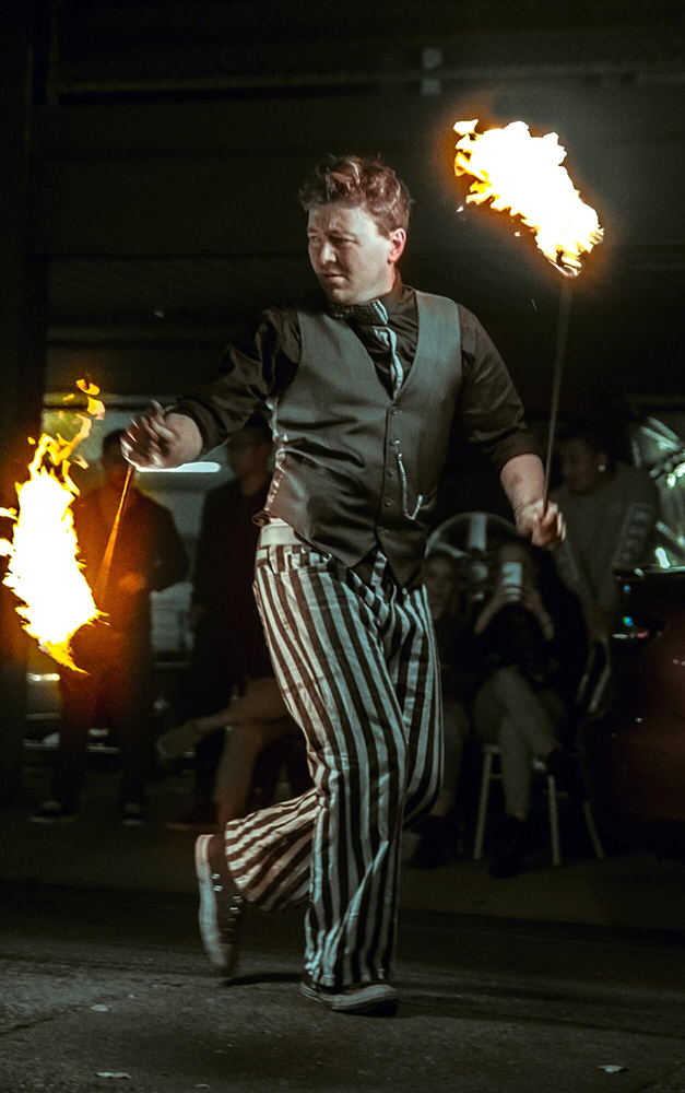 Chad Baker Fancy Fire Fire Entertainment at The Market Shed on Holland Fire Performance, Fire Dancing at Twilight market Suzanne Elliot Photography